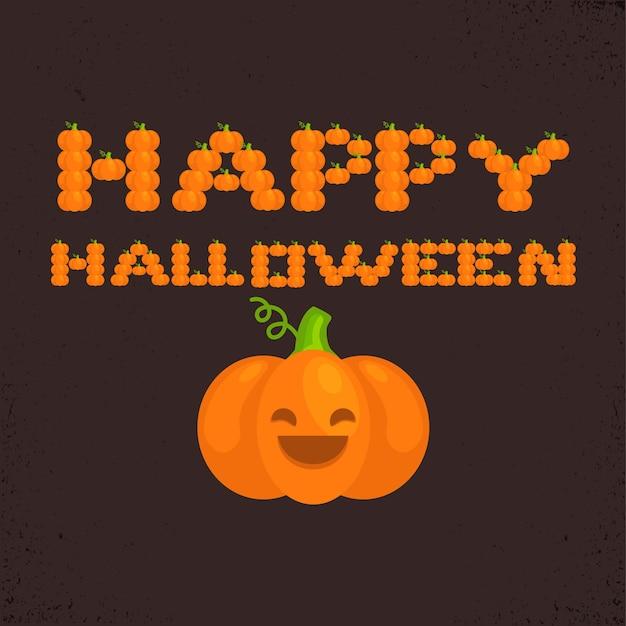 Halloween heureux lettres de citrouilles sur fond noir