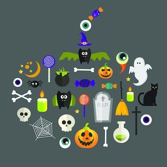 Halloween holiday icons set en forme de citrouille.