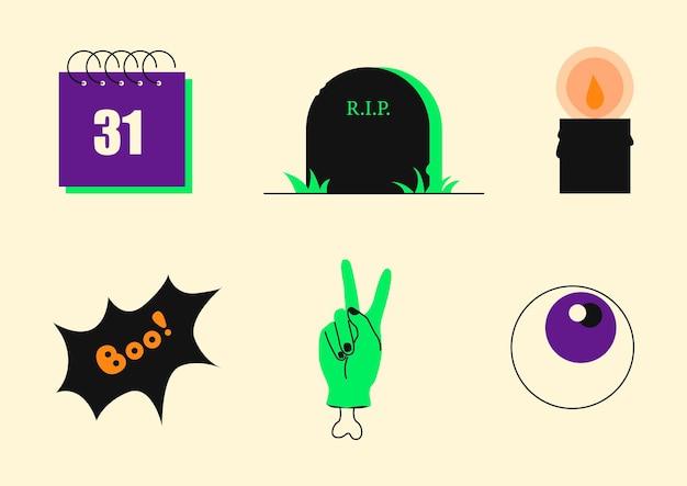 Halloween icons set célébration 31 octobre calendrier pierre tombale oeil bougie monstre main