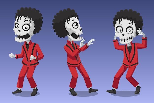Halloween illustration squelettes drôles danse thriller isolé