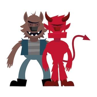Halloween loup-garou et dessin animé de diable, joyeuses fêtes et effrayant