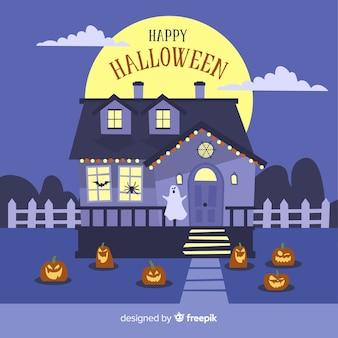 Halloween maison hantée avec un design plat