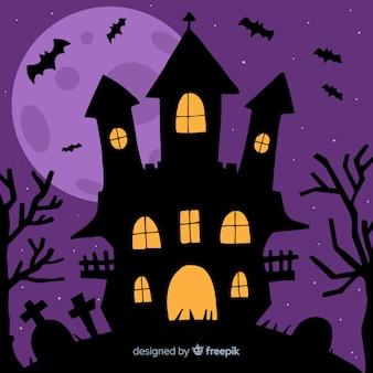 Halloween maison hantée fond plat