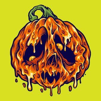 Halloween melt pumpkins horror illustrations vectorielles pour votre travail logo, t-shirt de mascotte, autocollants et conceptions d'étiquettes, affiche, cartes de voeux faisant la publicité d'une entreprise ou de marques.