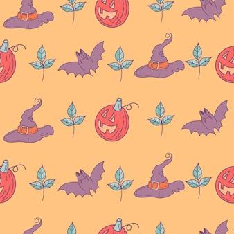 Halloween. modèle sans couture. citrouilles effrayantes, chapeaux magiques, chauves-souris. illustration vectorielle. conception de papier d'emballage, impression pour tissu.