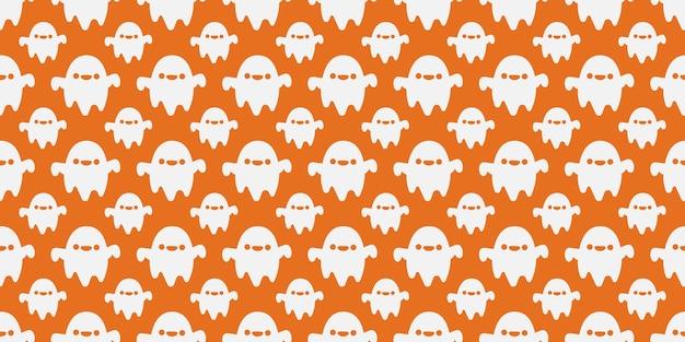 Halloween modèle sans couture de fantômes mignon souriant.