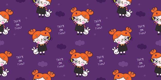 Halloween modèle sans couture sorcière dessin animé kawaii illustration