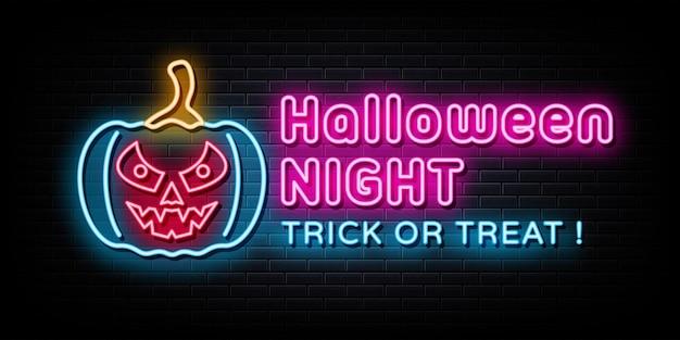 Halloween night neon signs vector design template style néon