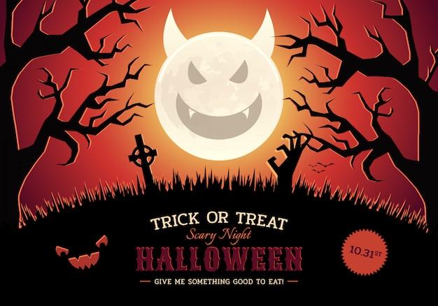 Halloween nuit effrayante fond avec evil moon