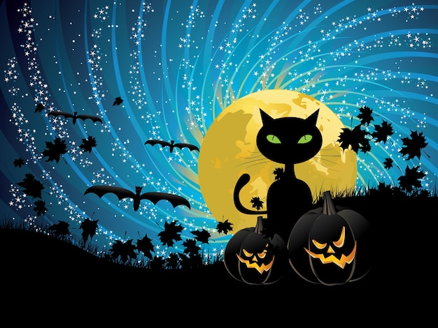 Halloween party background avec chat