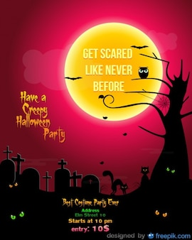 Halloween party flyer cimetière modèle rouge