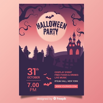 Halloween party poster template design dessiné à la main