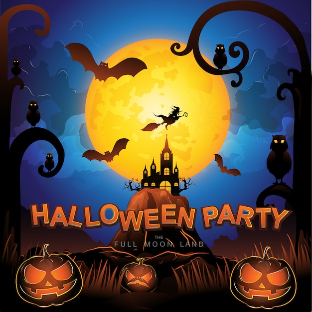 Halloween party vector concept terre de pleine lune