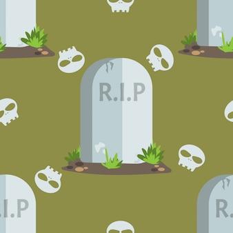 Halloween pierres tombales de modèle sans couture avec le texte rip.