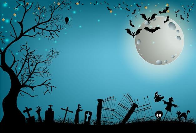 Halloween et pleine lune dans la nuit noirechâteau sombre sur fond de pleine lune