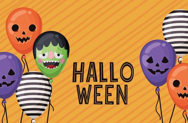Halloween à rayures frankenstein et conception de ballons de citrouille, thème de vacances et effrayant