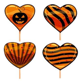 Halloween set sucettes coeur bonbons colorés avec des éléments de couleurs citrouille d'halloween.