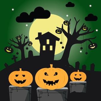 Halloween avec la silhouette d'un château à la lune rougeoyante et des arbres morts près du cimetière