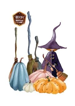 Halloween sorcière citrouilles balais illustration aquarelle