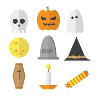 Halloween symbole illustration set vector - dans un style plat de dessin animé - pour le site, la conception, les affiches