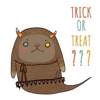 Halloween, trick or treat avec un monstre d'halloween mignon.