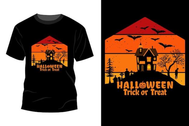Halloween trick or treat t-shirt maquette design vintage rétro