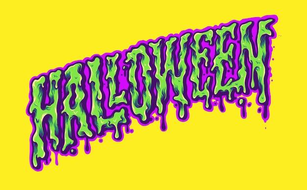 Halloween Typeface Trippy Color Illustrations Vectorielles Pour Votre Travail Logo, T-shirt De Mascotte, Autocollants Et Conceptions D'étiquettes, Affiche, Cartes De Voeux, Entreprise Ou Marques Publicitaires. Vecteur Premium