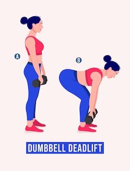 Haltère deadlift exercice femme entraînement fitness aérobie et exercices vector illustration