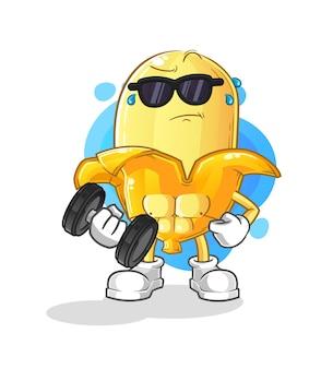 L'haltère de levage de banane. personnage de dessin animé