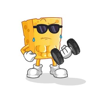 Haltère de levage de fromage. personnage de dessin animé