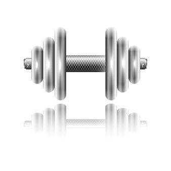 Haltère de sport en métal avec réflexion