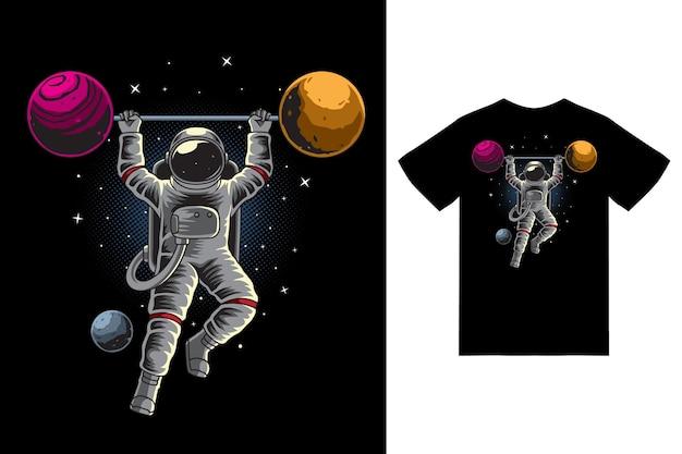 Haltérophilie astronaute dans l'illustration de l'espace avec vecteur premium de conception de tshirt