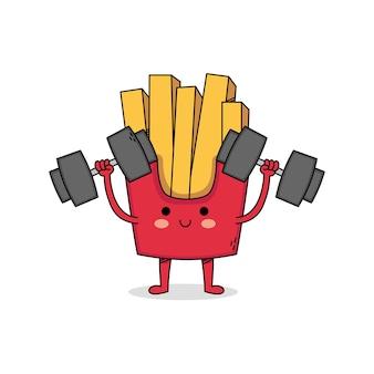 Haltérophilie de personnage de dessin animé mignon frites