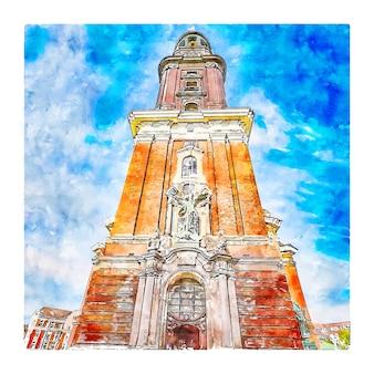 Hambourg allemagne aquarelle croquis illustration dessinée à la main
