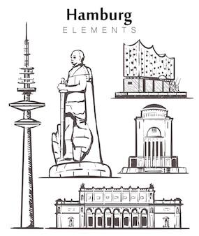 Hambourg définir les bâtiments isolés sur blanc