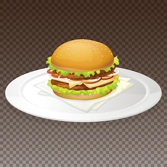 Hamburger sur assiette