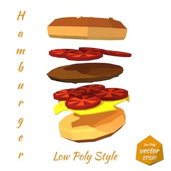 Hamburger avec des couches de côtelette et de tomate isolées. style low poly