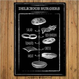 Hamburger délicieux dans le style tableau noir