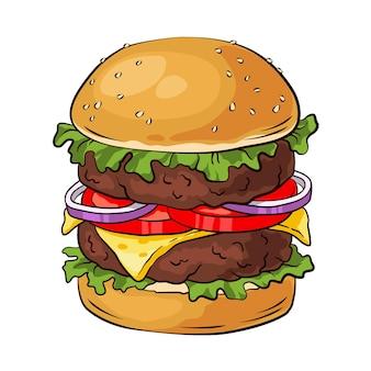 Hamburger double. cheeseburger, restauration rapide.