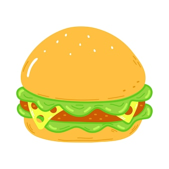 Hamburger drôle mignon