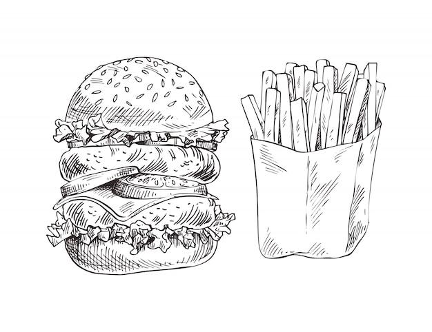 Hamburger énorme et pommes de terre frites