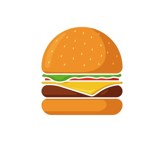 Hamburger d'icône d'isolement de restauration rapide de hamburger avec la tranche de fromage de côtelette de boeuf frit juteux de verts d'arc de tomate