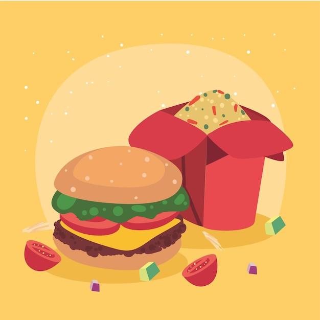 Hamburger et icônes de la cuisine chinoise