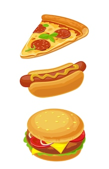 Hamburger pizza hotdog set fast food vector isolé icône plate