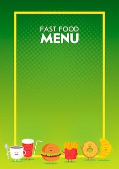 Hamburger de restauration rapide mignon drôle, soda, frites, croissant, beignet dessiné avec un sourire, des yeux et des mains. caractère de carton de menu de restaurant d'enfants.