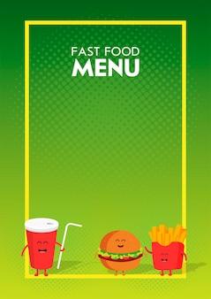 Hamburger de restauration rapide mignon drôle, soda, frites dessinées avec un sourire, des yeux et des mains. caractère de carton de menu de restaurant d'enfants.