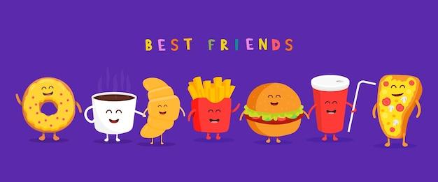 Hamburger de restauration rapide mignon, soda, frites et pizza. café sucré, croissant, beignet. illustration de personnage de dessin animé de vecteur. amis pour toujours