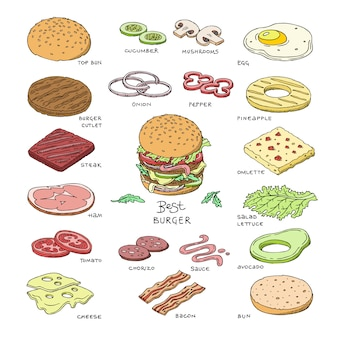 Hamburger de restauration rapide vecteur burger ou constructeur de cheeseburger avec des ingrédients pain de viande tomate et illustration de fromage sandwich fastdood ou ensemble de hamburger isolé sur fond blanc