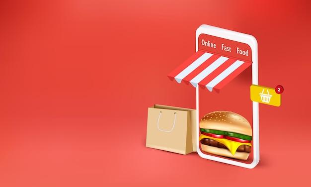 Hamburger avec sac pour commande en ligne
