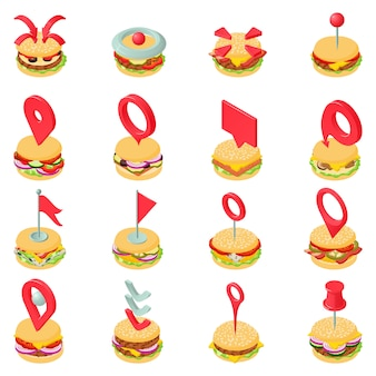 Hamburger steak icons set, style isométrique